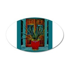 Red Vase With Plant 22x14 Oval Wall Peel