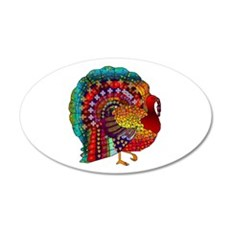 Thanksgiving Jeweled Turkey 35x21 Oval Wall Decal