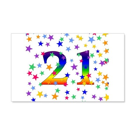 Rainbow Stars 21st Birthday 22x14 Wall Peel