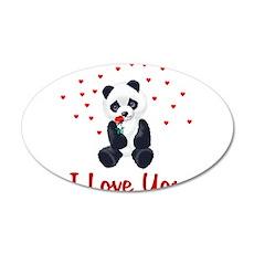 Panda Bear Valentine 22x14 Oval Wall Peel