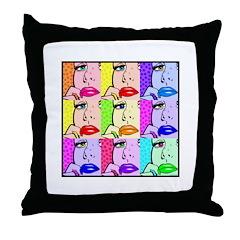 Comic Thinking Girl Throw Pillow
