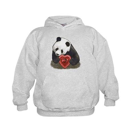 Panda Bear Red Heart Kids Hoodie