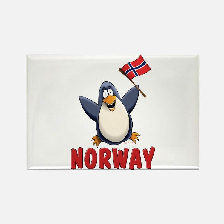 Norway Penguin Rectangle Magnet
