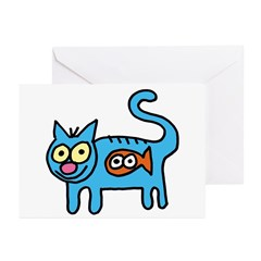 Blue kitty with Tickles Greeting Cards (Package of