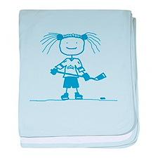Stick Hockey (Blue): baby blanket