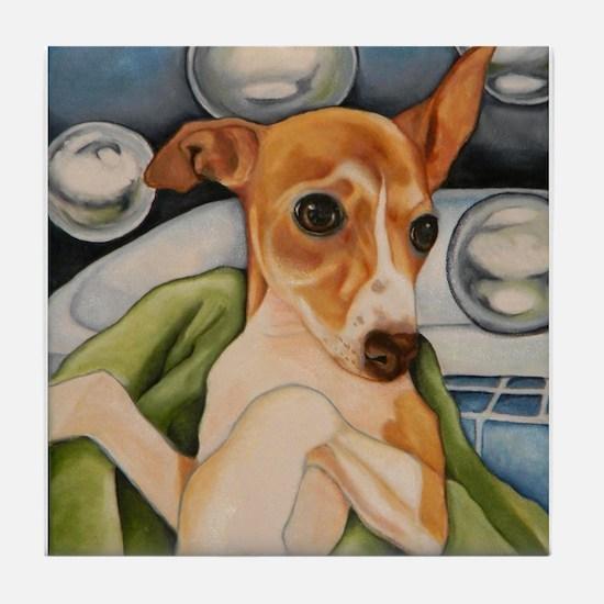 Italian Greyhound Puppy Bath Tile Coaster