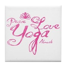 Cute Peace love and pilates Tile Coaster