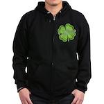 Vintage Lucky 4-leaf Clover Zip Hoodie (dark)