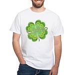Vintage Lucky 4-leaf Clover White T-Shirt