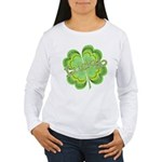 Vintage Lucky 4-leaf Clover Women's Long Sleeve T-