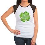 Vintage Lucky 4-leaf Clover Women's Cap Sleeve T-S
