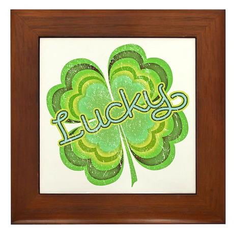 Vintage Lucky 4-leaf Clover Framed Tile