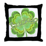Vintage Lucky 4-leaf Clover Throw Pillow