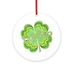 Vintage Lucky 4-leaf Clover Ornament (Round)