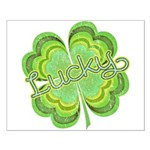 Vintage Lucky 4-leaf Clover Small Poster