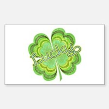 Vintage Lucky 4-leaf Clover Sticker (Rectangle)