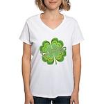 Vintage Lucky 4-leaf Clover Women's V-Neck T-Shirt