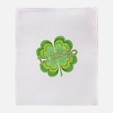 Vintage Lucky 4-leaf Clover Throw Blanket