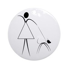 lady walking the dog Ornament (Round)
