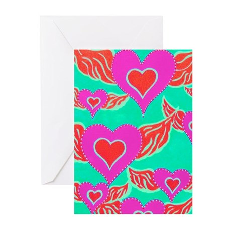 Heart Angels TurqoisePink Greeting Cards (Pk of 10