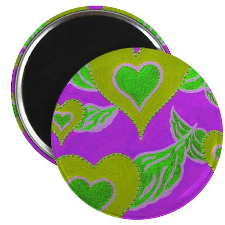 Heart Angels PurpleGreen Magnet