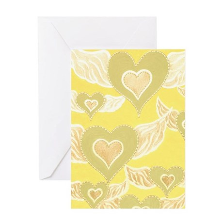 Heart Angels GoldLight Green Greeting Card