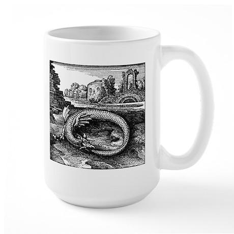 medieval oroborus serpent Large Mug