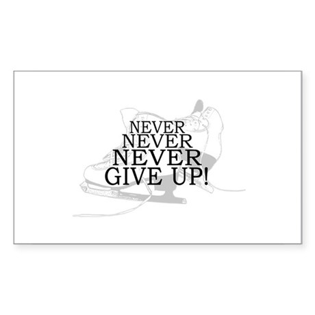 Figure Skating Never Give Up Sticker (Rectangle)