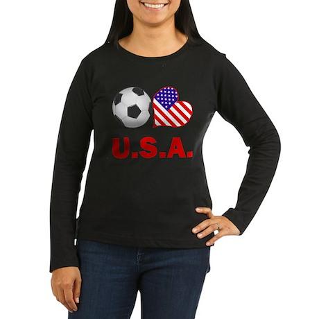 U.S.A. Soccer Fan Women's Long Sleeve Dark T-Shirt