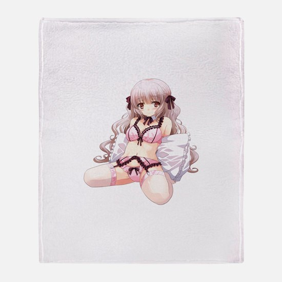 Underwear Anime Girl Throw Blanket