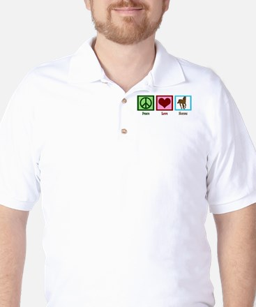 Peace Love Horses Golf Shirt