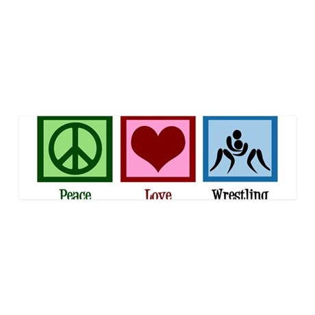 Peace Love Wrestling 36x11 Wall Decal