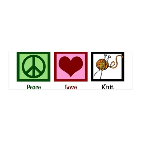 Peace Love Knit 36x11 Wall Decal