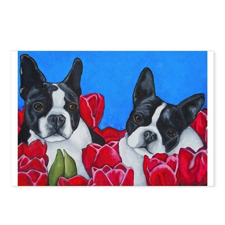 Boston Terriers & Tulips Postcards (Package of 8)