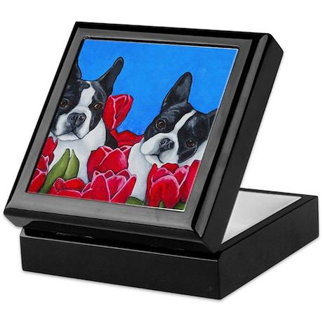 Boston Terriers & Tulips Keepsake Box