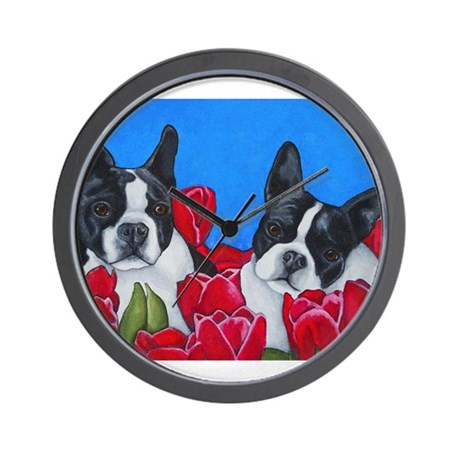 Boston Terriers & Tulips Wall Clock