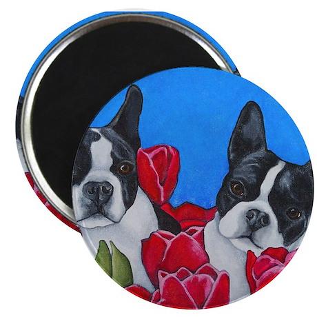 Boston Terriers & Tulips Magnet