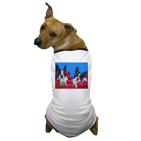 Boston Terriers & Tulips Dog T-Shirt