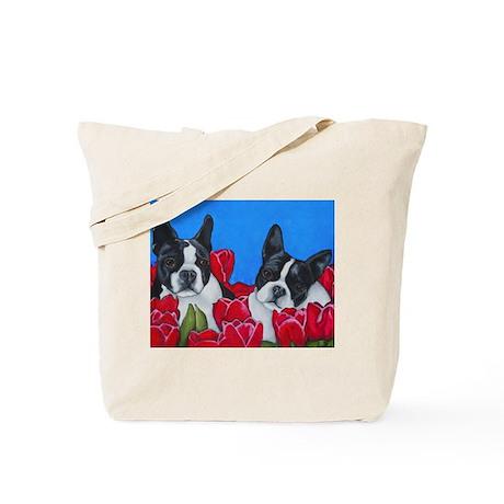 Boston Terriers & Tulips Tote Bag