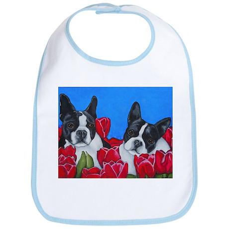 Boston Terriers & Tulips Bib