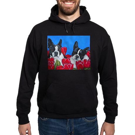 Boston Terriers & Tulips Hoodie (dark)
