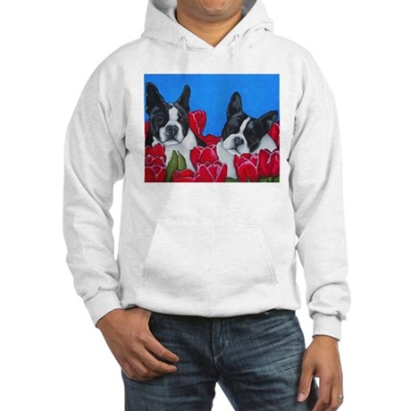 Boston Terriers & Tulips Hooded Sweatshirt