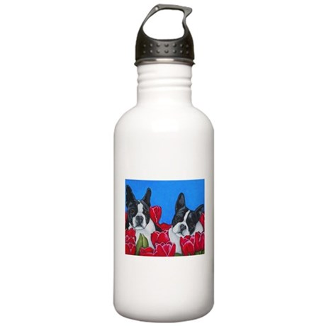 Boston Terriers & Tulips Stainless Water Bottle 1.