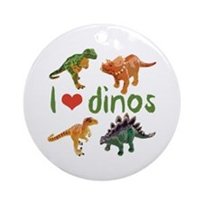 I Love Dinos Ornament (Round)