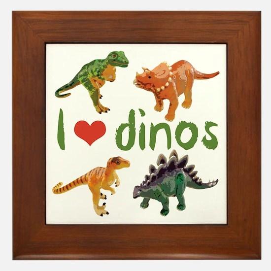 I Love Dinos Framed Tile