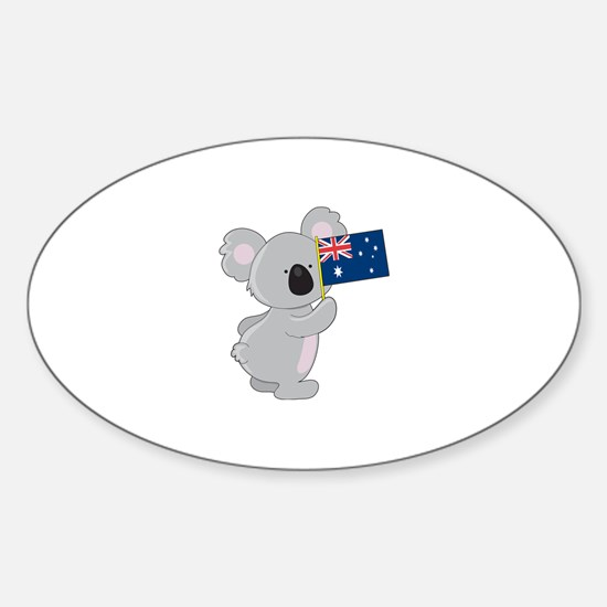 Koala Australian Flag Sticker (Oval)