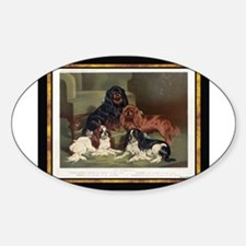 Antique King Charles Spaniels Oval Decal