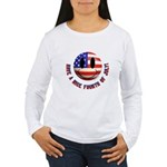 July 4th Smiley Women's Long Sleeve T-Shirt