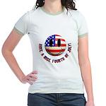 July 4th Smiley Jr. Ringer T-Shirt