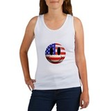 American flag smiley face Women's Tank Tops